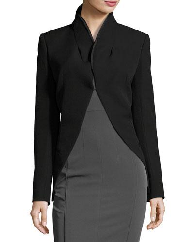 Open-Back Wool Blazer, Black