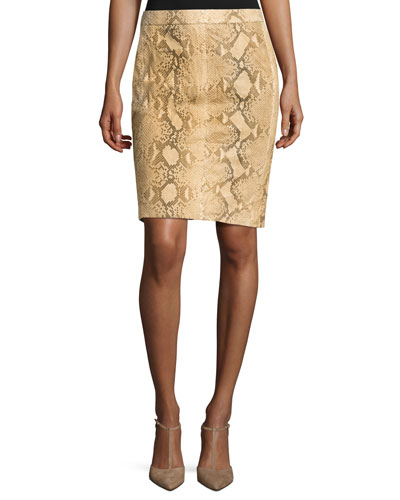 Tristan Python Pencil Skirt, Multi