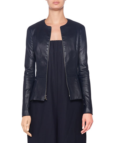 Anasta Leather Zip-Front Jacket
