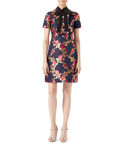 Floral Brocade Dress, Blue/Multicolor