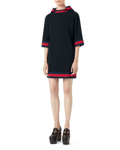 Stretch-Viscose Hooded Dress with Web