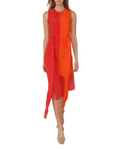 Sleeveless Colorblock Sash Dress, Orange