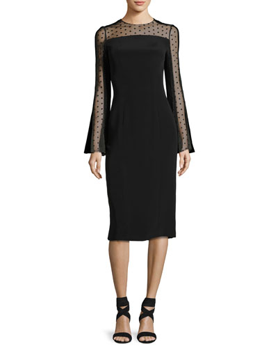Long-Sleeve Point d'Esprit Cocktail Dress, Black