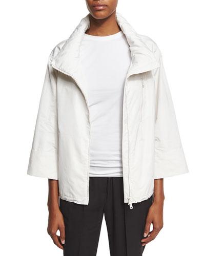 Short Taffeta Bracelet-Sleeve Jacket