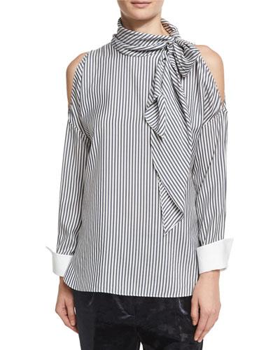 Striped Cold-Shoulder Tie-Neck Blouse, White/Blue