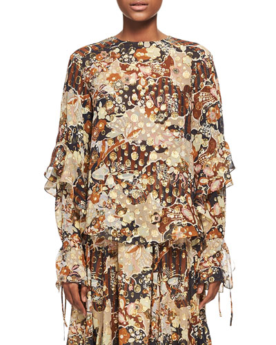 Deco Cloud Jacquard Blouse, Brown Pattern
