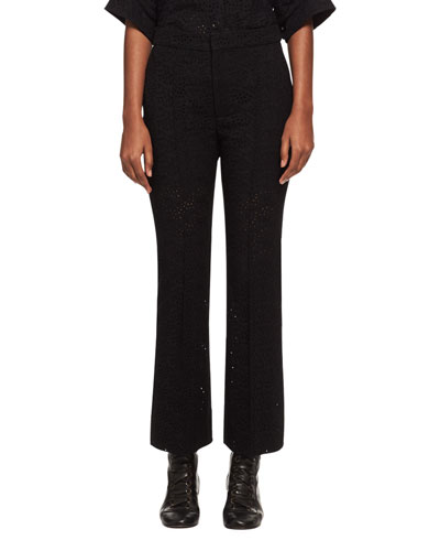 Cropped Eyelet Straight-Leg Pants, Black