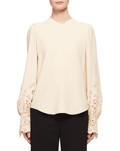 Long-Sleeve Eyelet Cady Blouse, Light Beige