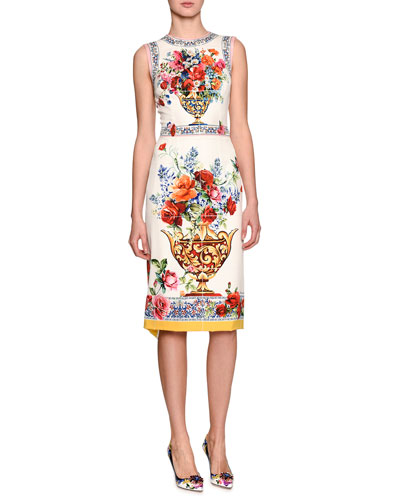 Floral Vase Sleeveless Sheath Dress, White
