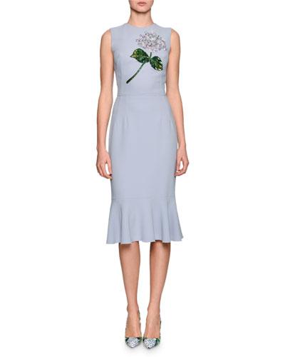 Hydrangea Embellished Flounce-Hem Dress, Light Blue