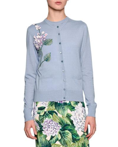 Embellished Hydrangea Cardigan Sweater, Light Blue