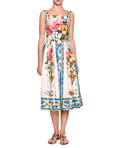 Sleeveless Floral Vase Button-Front Dress, White