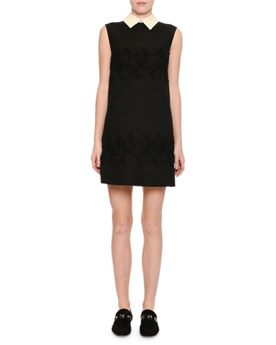 Sleeveless Lace-Inset Minidress, Black