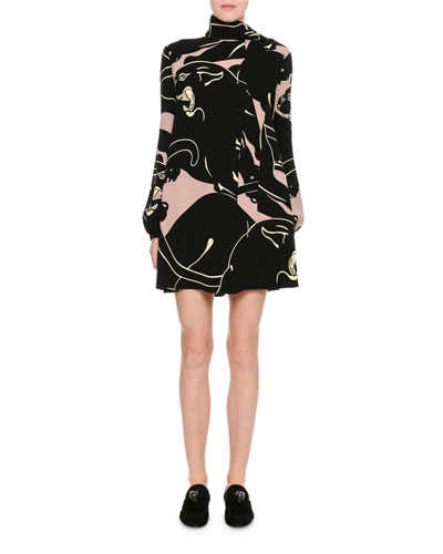 Panther-Print Tie-Neck Minidress, Pink/Black