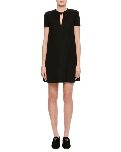 Crepe Couture Panther-Collar Shift Dress, Black
