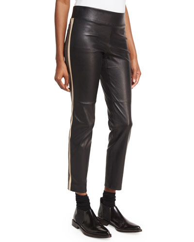 Varsity-Striped Leather Pants, Black