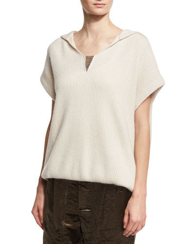 Hooded Short-Sleeve Pullover Sweater, Beige