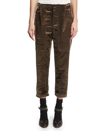 Cropped Velvet Jogger Pants, Brown