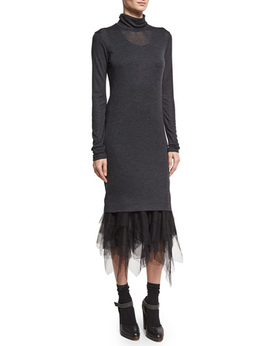 Wool-Jersey Turtleneck Dress w/Tulle Hem, Gray