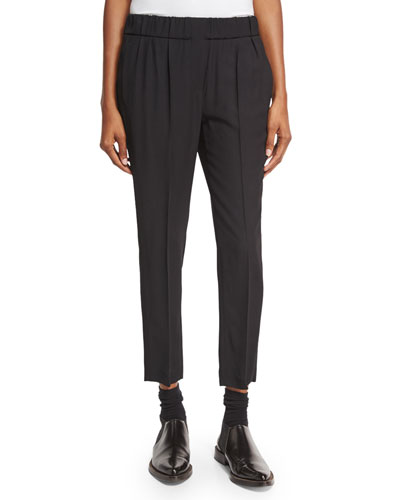 Pleated Pull-On Pants