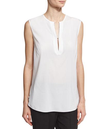 Sleeveless Silk Popover Top, White