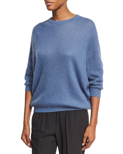 Ribbed Knit Crewneck Sweater, Blue