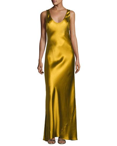 Signature Silk Slip Gown, Gold