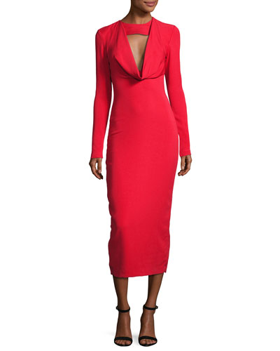 Stretch-Crepe Cowl-Neck Midi Dress, Red