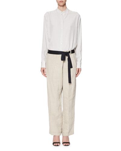Belted Overlap Trousers, Ecru