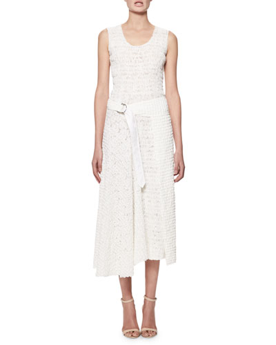 Sleeveless Smocked Cotton Midi Dress, White