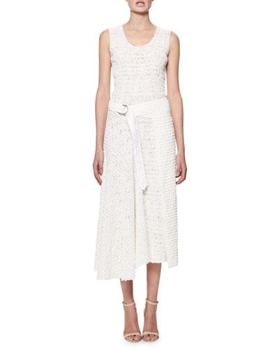 Sleeveless Smocked Cotton Midi Dress, White