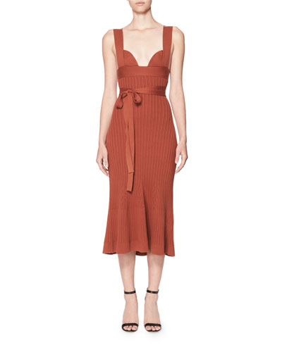 Sleeveless Ribbed Knit Midi Dress, Medium Brown