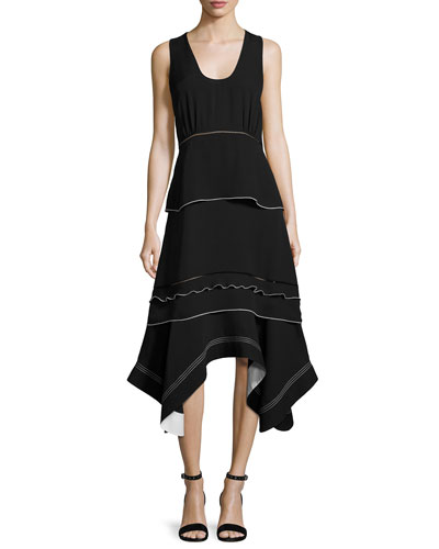 Sleeveless Handkerchief-Hem Midi Dress, Black