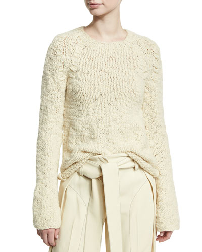 Bell-Sleeve Crewneck Sweater, Neutral