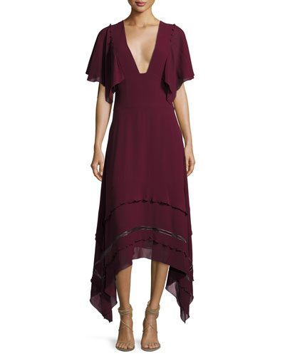 V-Neck Silk Georgette Midi Dress, Wine