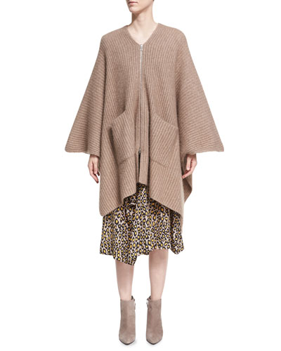 Ribbed Cashmere-Silk Zip-Front Poncho, Beige