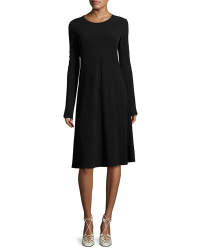 Navia Long-Sleeve Cady Dress, Black