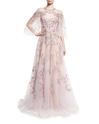 Floral-Embroidered Tulle Flutter-Sleeve Gown, Light Pink
