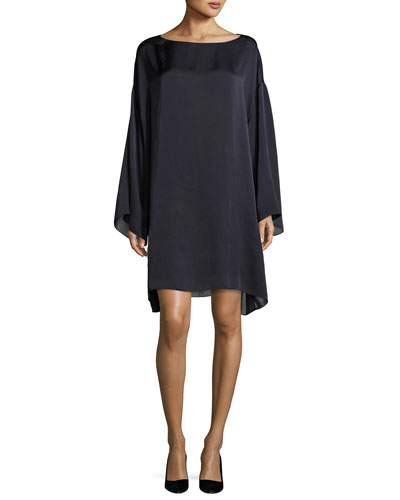 Tharpe Charmeuse Long-Sleeve Minidress, Navy