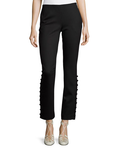 Blaire Button-Detail Stretch-Wool Straight-Leg Pants, Black
