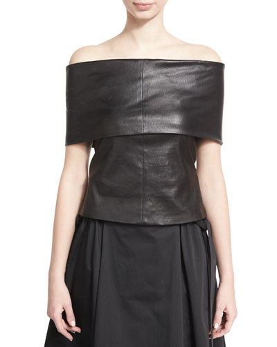 Off-the-Shoulder Banded Lamb Leather Top, Black