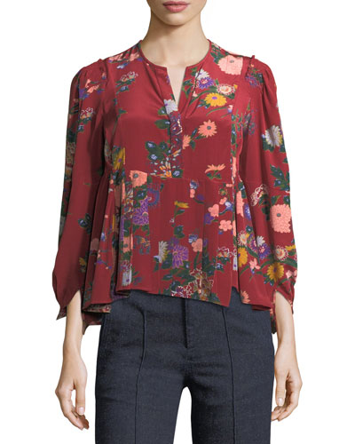Ivia Floral-Print Silk Blouse