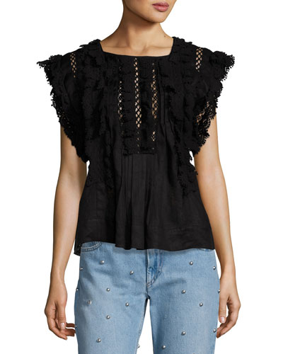 Nandy Crocheted Lace Tunic Top