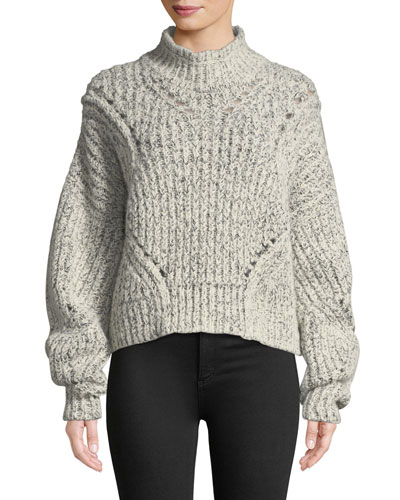 Farren Chunky Cropped Mock-Neck Sweater, Ecru
