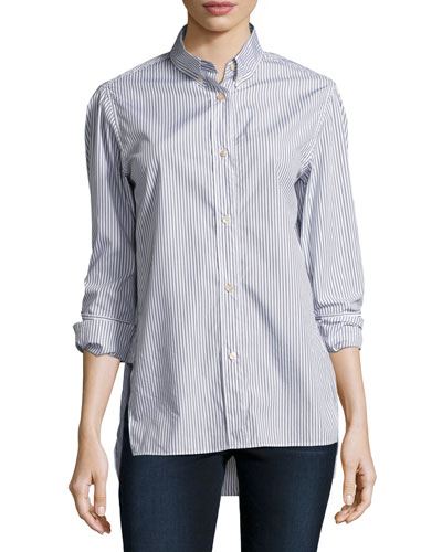Lilianne Striped Cotton Blouse, Gray