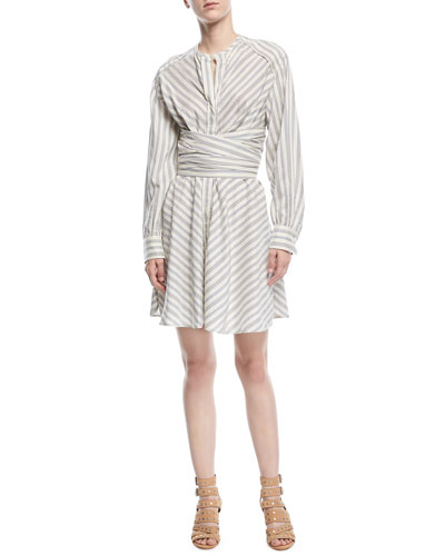 Victoria Striped Cummerbund Shirtdress