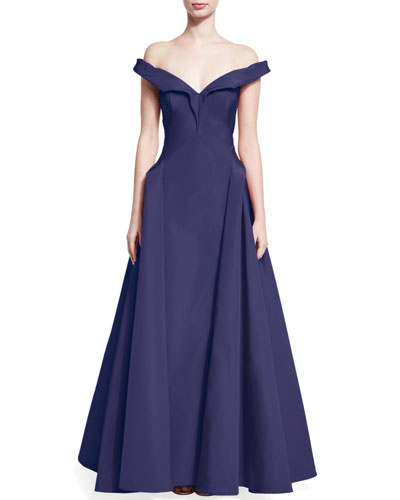 Off-the-Shoulder Silk Taffeta Gown, Violet