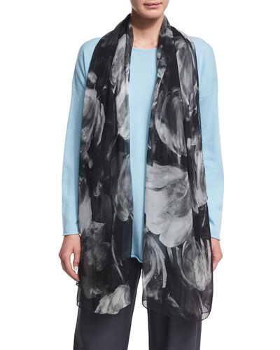 Printed Silk Georgette Scarf, Black