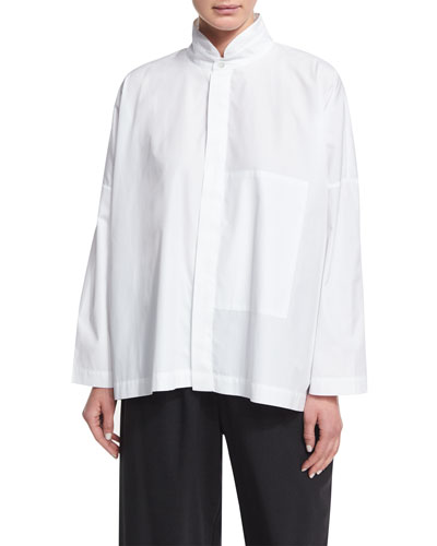 Double Stand-Collar Cotton Shirt