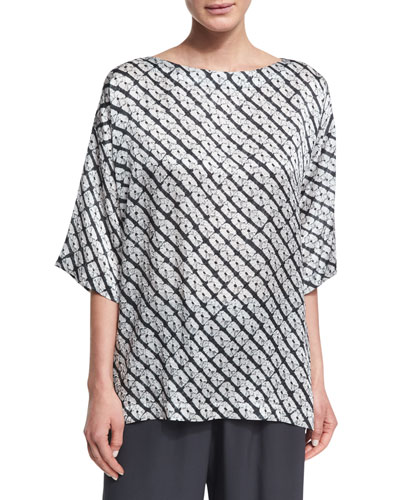 Small Diamond Shibori Silk Top, Gray